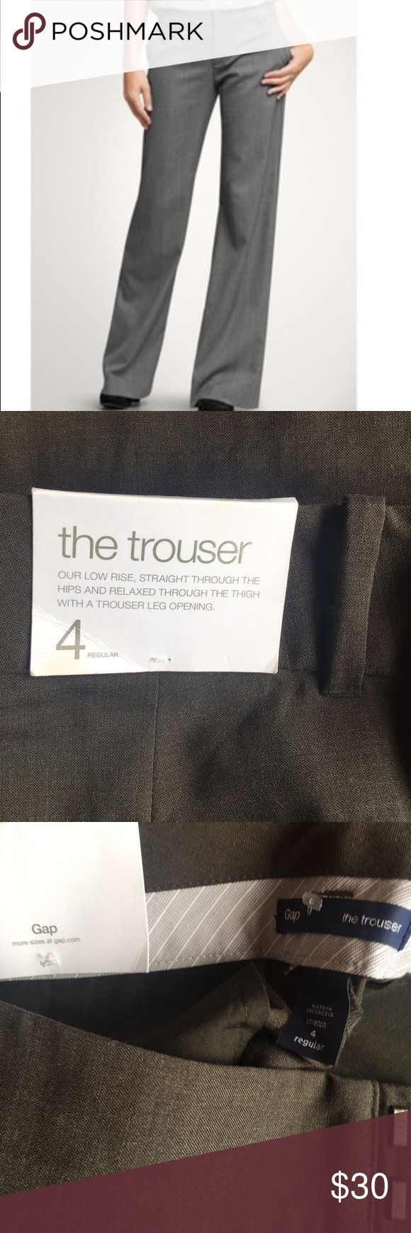 NWT Gap Trousers Beautiful Gap Trousers, 4R I'd describe the color as dark charcoal grey. Low rise, straight through the hips and trouser leg opening, which is say was wide leg. Gives a lean leg appearance. Looks great with heels GAP Pants