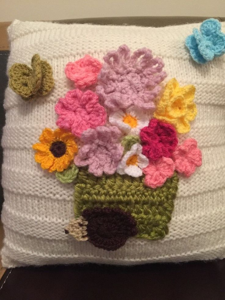 Knitted Cushion With crochet pot of  Flower, Beautiful 14'' x 14''