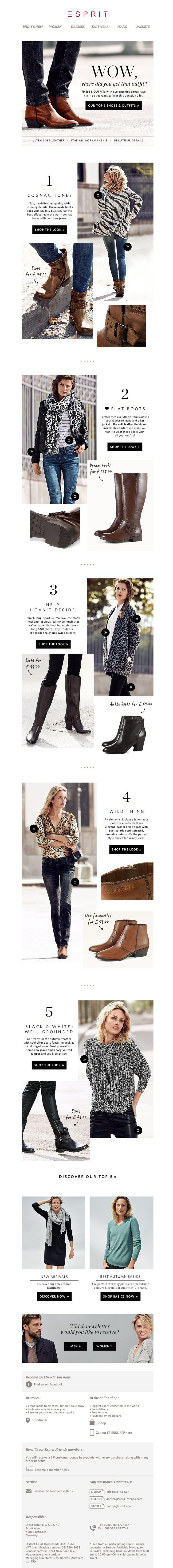 #newsletter Esprit 10.2014 Top 5 shoes & looks - top quality, top workmanship, top designs…