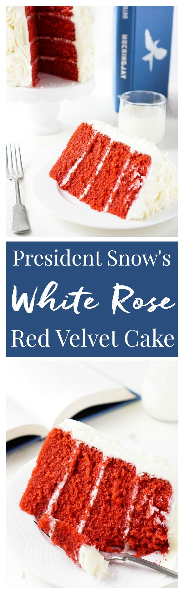 President Snow's White Rose Cake is a red velvet cake frostied in cream cheese buttercream and inspired by The Hunger Games trilogy! Classic from scratch flavors with a fun literary twist!