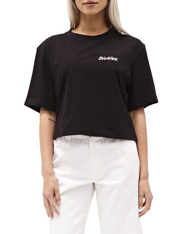 d7c09b6fcb3b01 Dickies 100% cotton cropped black t-shirt with front white Dickies logo  print on