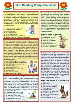 Mini Reading Comprehensions 8