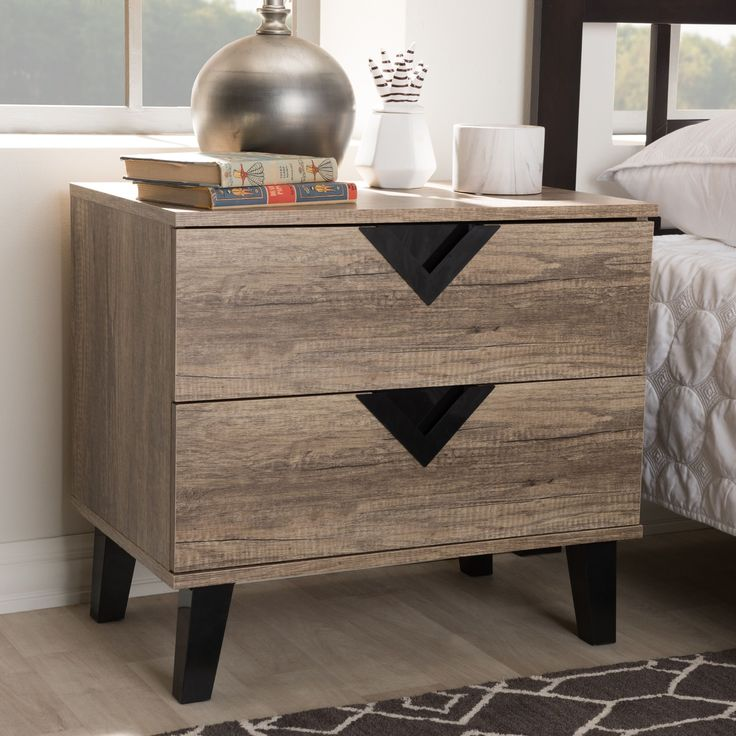 Contemporary Light Wood Nightstand by Baxton Studio