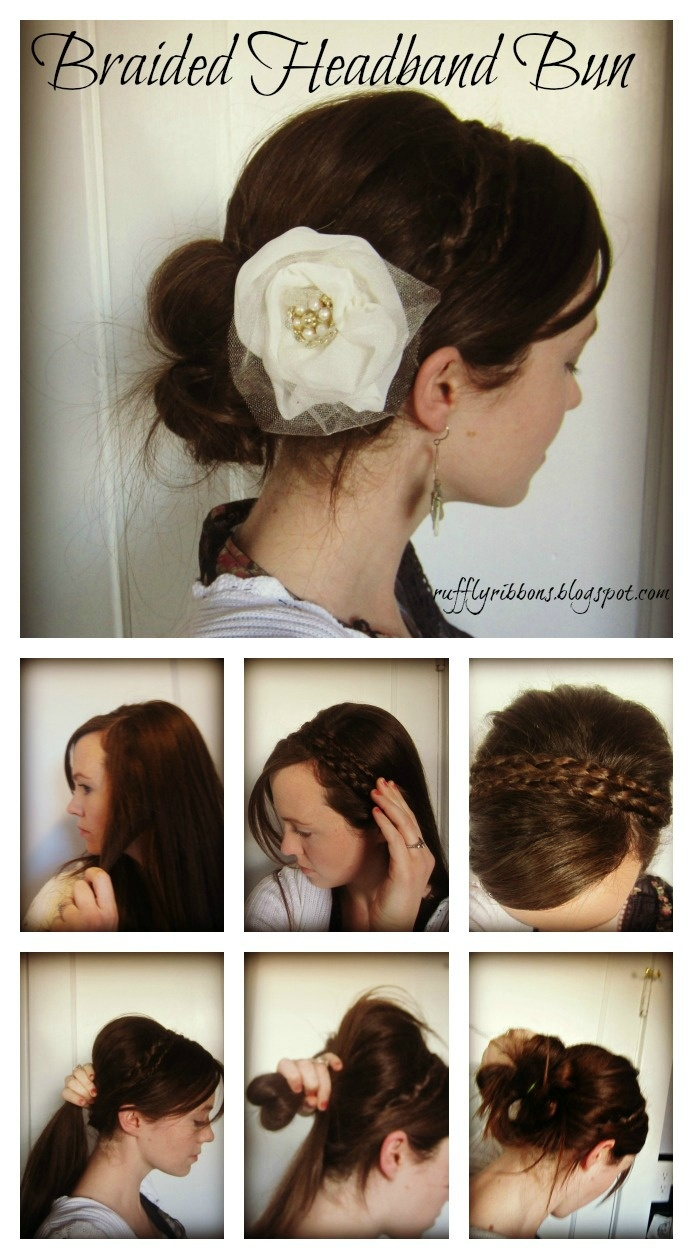 barbara streisand inspired braided headband bun. I have too much hair for this. . .