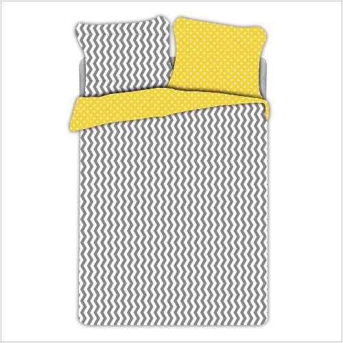 """Pościel z bawełny """"Yellow ZigZag & Dots"""" 160x200cm + 2x70x80cm - Dom i styl życia"""
