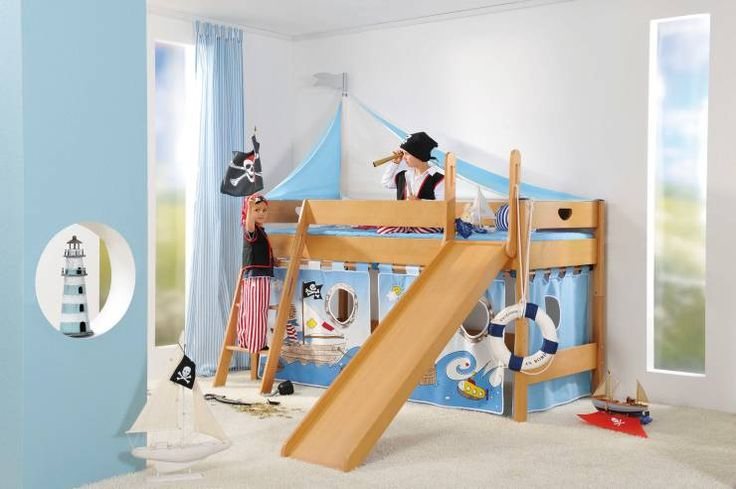 Damit ist der Sohnemann der Star des Kindergartens - Piratenbett mit Rutsche von Paidi. #hochbett #piratenbett #homify