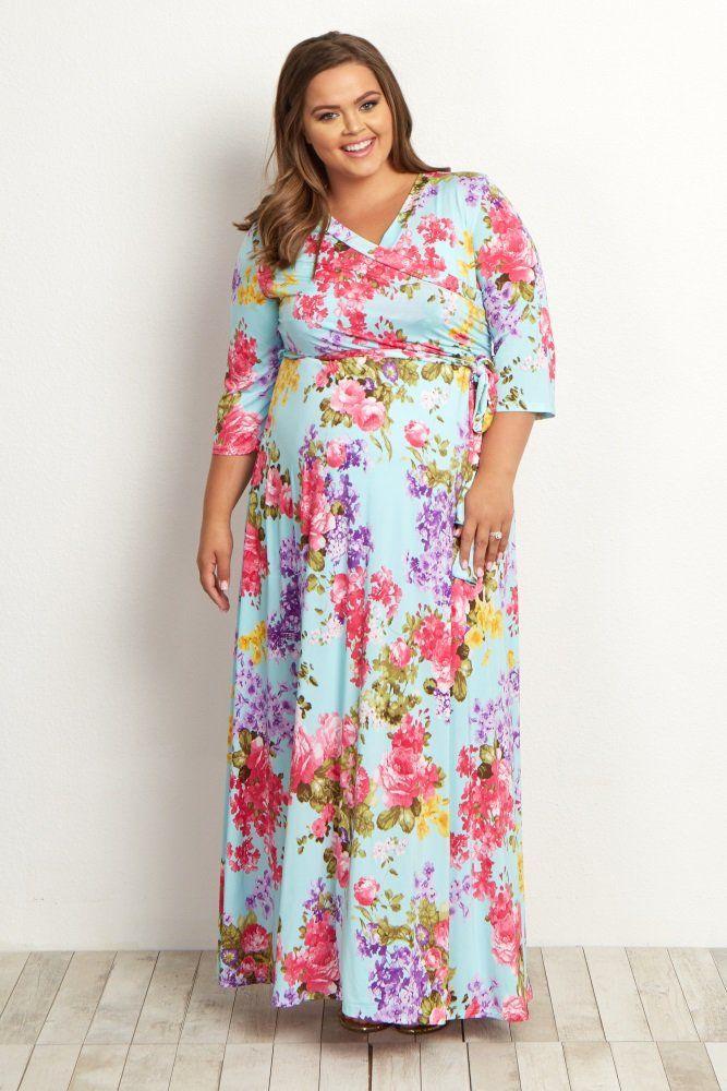 9907b8d420c1c Light Blue Floral Sash Tie Plus Maternity/Nursing Maxi Dress   Fashion   Plus  size maternity dresses, Plus size ivory dresses, Pink blush maternity