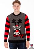 Rudy - The Mischievous Reindeer - Mens Knitted Xmas Jumper - British Christmas Jumpers | British Christmas Jumpers
