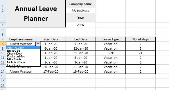Annual Leave Planner Template Planner Planner Template Annual Leave