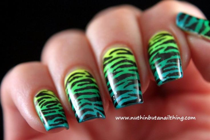 Green Tiger Striped Gradient Nails   Nuthin' But A Nail Thing Blog   Animal Print Designs, Nail Bloggers, Zebra Stripes, Claire Metcalfe, Nail It! Magazine