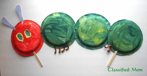 The Very Hungry Caterpillar Paper Plate Puppet Craft from Classified: Mom