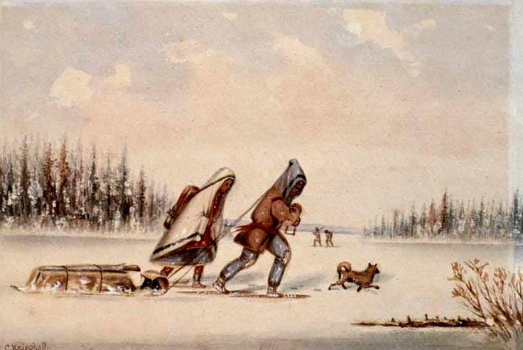 Famiglia in Viaggio. Una famiglia armata di racchette da neve e toboggan si incammina nella pianura innevata.