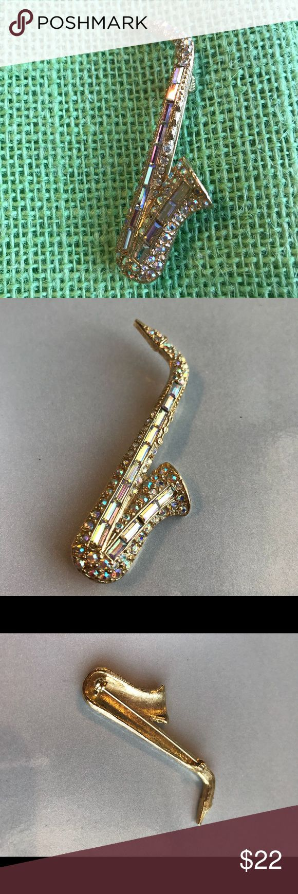 Saxophone brooch Cute Saxophone brooch pin for your music lover Very good condition  2 1/2 long See all pictures Jewelry Brooches