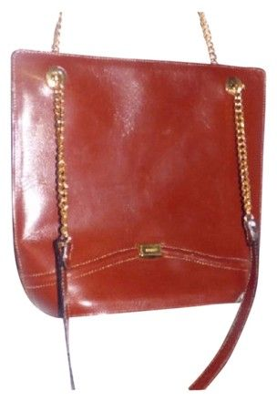 fee230a35bcb Bally Mint Vintage Multiple Compartment Bucket Chain Leather Strap Gold  Hardware Satchel in burnt orange leather