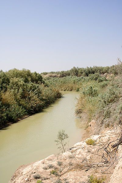 The southern section of the Jordan River, just north of the Dead Sea and Jericho, is very calm, and the water hardly flows... This is the area where John bapized Jesus