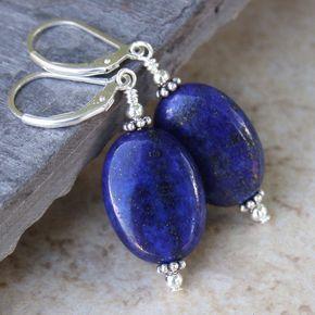 Pretty Handmade Blue Lapis Lazuli Gemstone Leverback Drop Dangle Earring