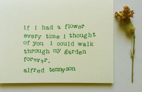 Alfred Tennyson, Note card, Poetry, Love Note, Valentines, Anniversary, Gift for Him, Gift for Her, Greeting Card, Typewriter, Quote