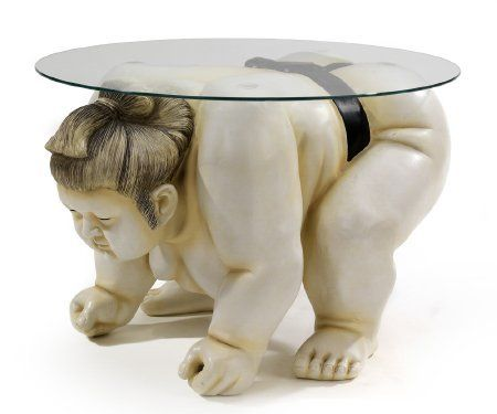 Basho the Sumo Wrestler Round Sculpture Table by Design Toscano. Save 26 Off!. $303.28. Hand-painted. Cast in Quality Designer Resin. Design Toscano Exclusive. DB378001 Features: -Cast in quality designer resin.-Hand painted.-Round tempered glass top.