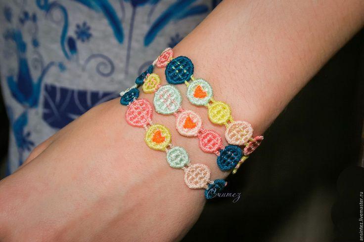 Купить браслеты вышитые Влюбленные пикселы комплект 3шт. украшения с вышивкой - браслет вышитый