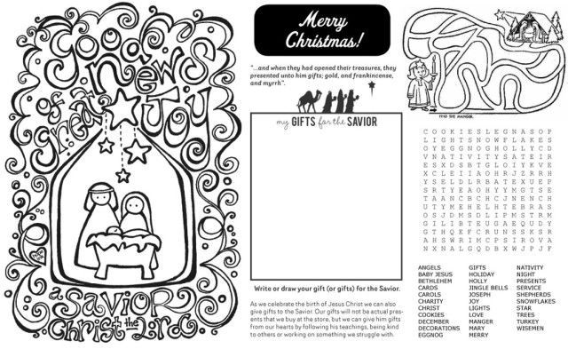Christmas activity placemat.  Celebrate Jesus and keep the beasts at bay at the same time.