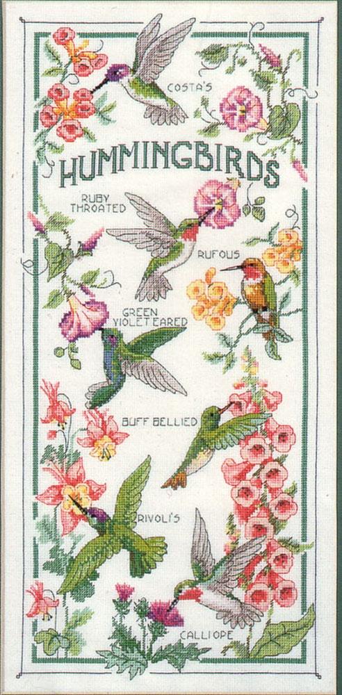 "Bin 2 pattern and threads, fabric in dresser drawer: Sunset ""The Hummingbird Society"" 8"" x 16"""