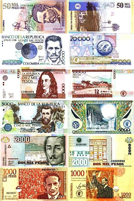 Colombian currency. The $20.000 bill has the highest technology applied to its design.
