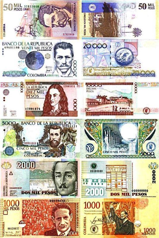 Actuales billetes de Colombia -