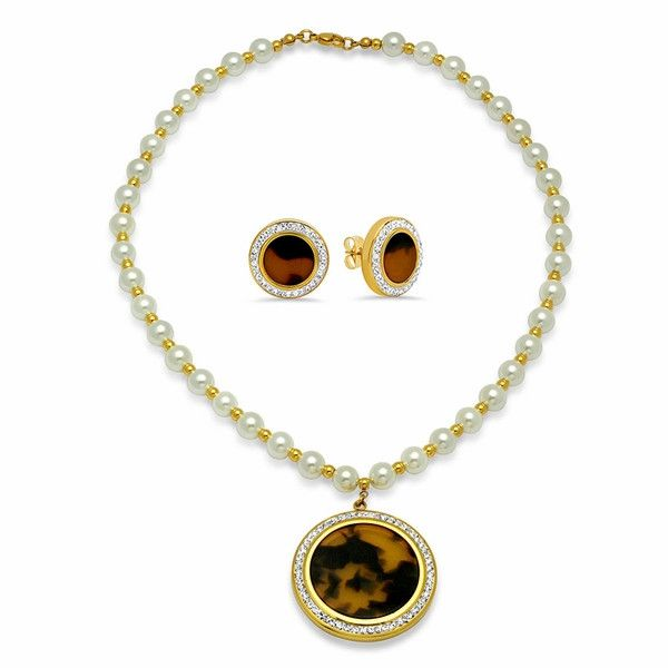"4-7030-e10 Stainless Gold Plated Pearl Necklace with Animal Print Pendant and Earrings Set. 16mm Earrings, 40mm Pendant, Necklace 18"" with 8mm pearl beads."