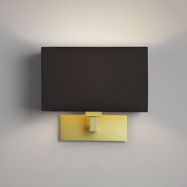 Beautiful Gold Wall Light with Black Box Shade. Looks great on neutral grey and deep colour walls