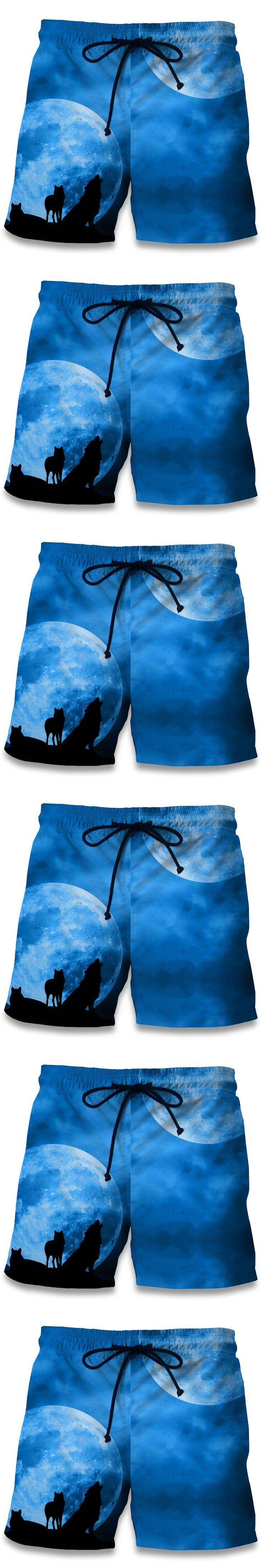 Summer Men Beach Shorts 2017 Moonlight Wolf 3D Print Fashion Men's Bermuda Boardshorts Fitness Trousers Plus Size 6XL Quick Dry