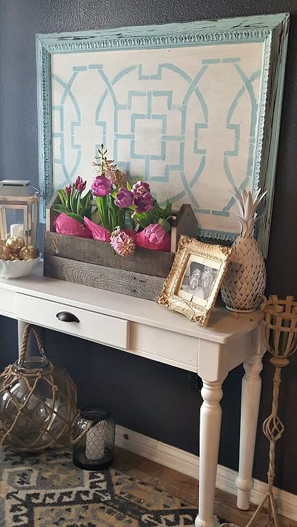 DIY stenciled wall art using an old canvas and the Tea House Trellis Stencil from Cutting Edge Stencils. http://www.cuttingedgestencils.com/tea-house-trellis-allover-stencil-pattern.html