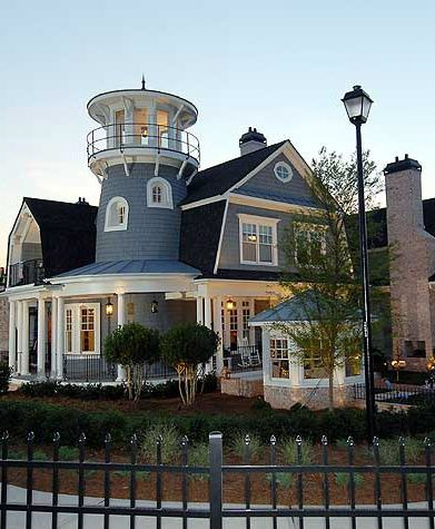 blue lighthouse home, looks like one I went through in CA, just awesome