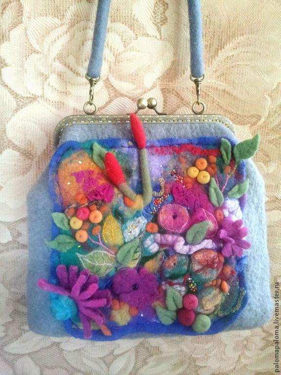 """Купить Сумка валяная """"Летний сад"""" - разноцветный, цветочный, сумка валяная, сумка шерстяная, Аппликация"""