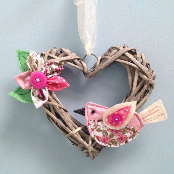 Pretty heart wreath, Bird hanging decoration, Rustic heart wreath, Country chic decor, Country hanging heart, Wicker heart.