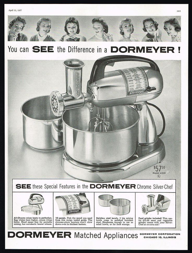 Details About 1957 Dormeyer Chrome Silver Chef Stand Mixer