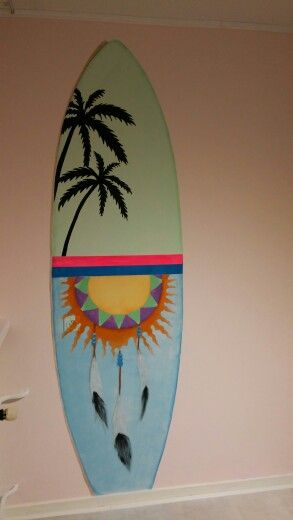 #Muurschildering #surfboard voor #Ibiza/strand kamer #niekiekidsdesign