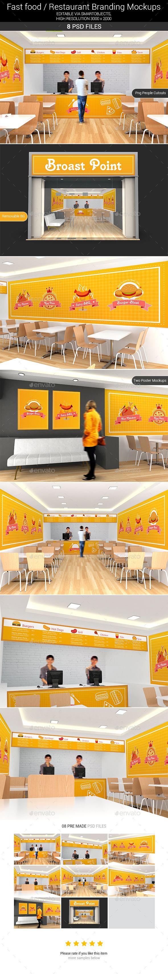 Presenting Fast food / Restaurant Interior branding mockups, this mockup specially focuses around the looks and branding of the interiors. This Mockup is perfect for any food outlet, Restaurants, Fast food Courts, Bistros, cafes etc. It's easy! You just need to double-click the Smart-Object, paste your artwork, save, and you're done.