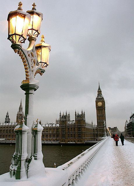 A wintry Big Ben in the snow. London, England.