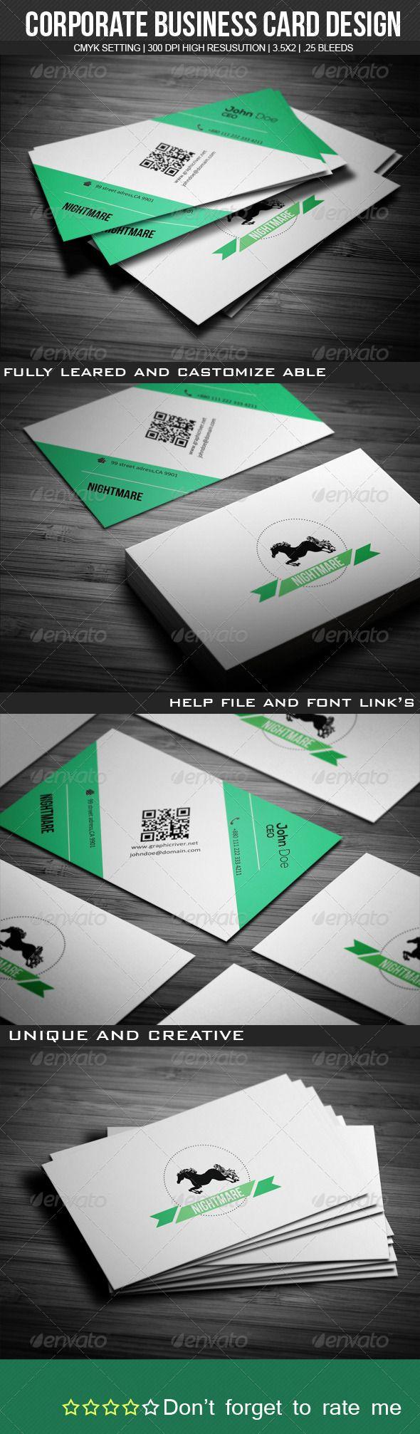 Nightmare Corporate Business Card  #GraphicRiver         This business card templates which can be used for almost any kind of company or even personal use.  	 All text layers can be changed with one click. Each card also comes with unlimited color variations can be adjusted by using the Hue/Saturation layer or using the layer Blending Options for a more advanced way.  	 Font Links 1. Bebas Neue: .dafont /bebas-neue.font 2. Nexa:  .fontsquirrel /fonts/nexa 3. Calibri:  .fonts…