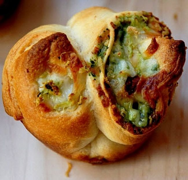 Pesto is a delightful addition to many baked goods stuffed with sauces and other inclusions