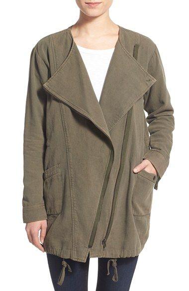 Velvet by Graham & Spencer Asymmetrical Zip Military Jacket available at #Nordstrom