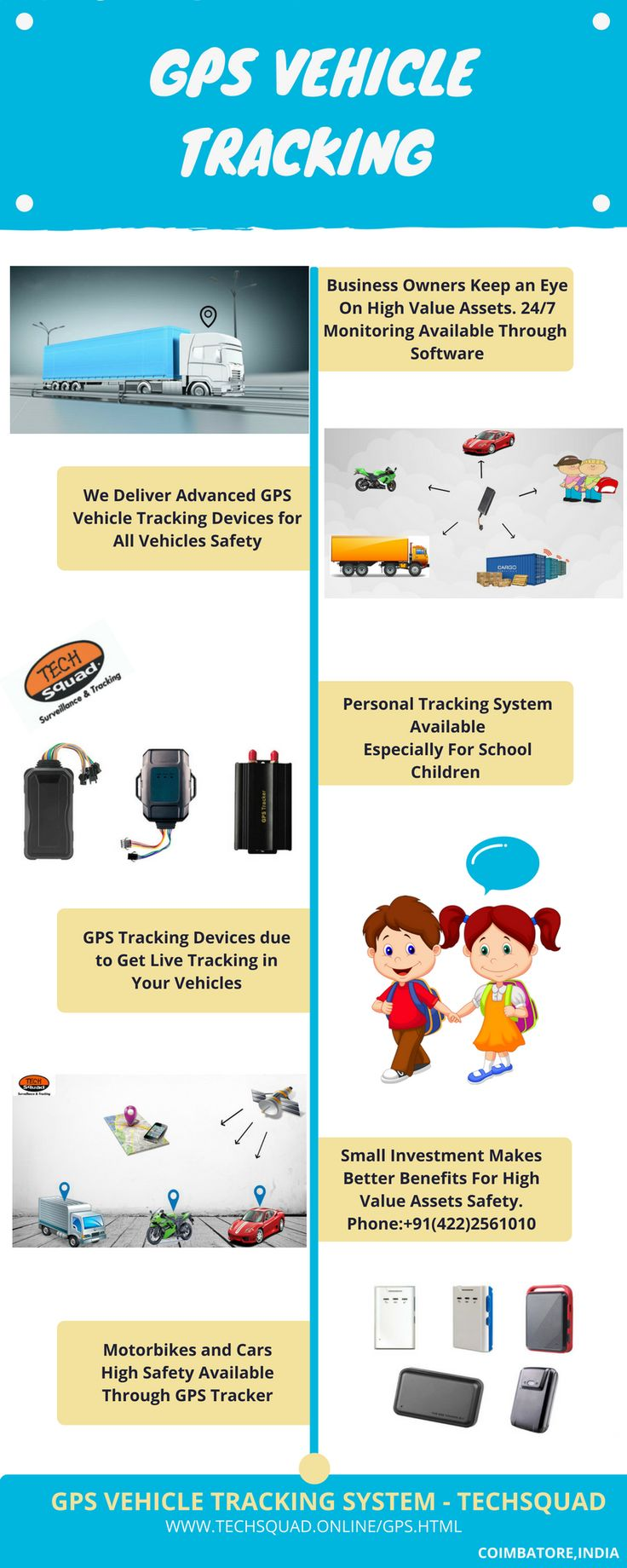 Techsquad delivers the advanced gps vehicle tracking system for all vehicles like motorbike car bus lorry truck etc we have doing two wheeler tracking