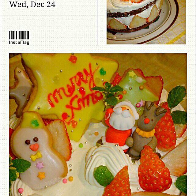 今年のクリスマスは、久しぶりに手作り☆  チョコスポンジに、たっぷりイチゴを生クリームでサンドイッチ!  デコレーションには、アイシングクッキーとイチゴ。 それと、サンタさん。  イチゴは一台に、たっぷり2パック使いました~( ; ゜Д゜)☆ 食べごたえバッチリです♪ - 3件のもぐもぐ - 『うちのクリスマスケーキ♪』 by 銀乃風