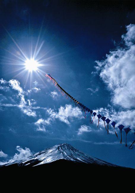 Japanese kite flying over Mt. Fuji
