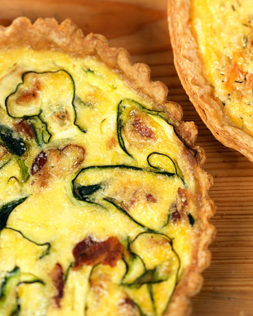 Bacon and Zucchini Quiche - For me, this could have made two. You can sub sour cream for half of the creme fraiche and swiss for gruyere if you want to save. Still delish!