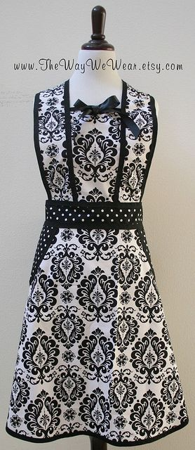 1940's WW2 Era Apron Vintage Reproduction (White & Black Damask) FRONT VIEW | Flickr - Photo Sharing!