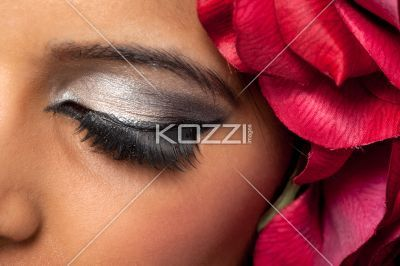 close-up of a young woman's eye. - Cropped close-up of a young woman's eye, Model: Stephanie Reddy