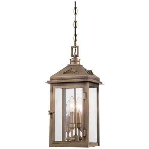 Minka Lavery 72434 261 Eastbury Four Light Outdoor Pendant In Colonial Brass Traditio In 2020 Outdoor Hanging Lanterns Outdoor Pendant Lighting