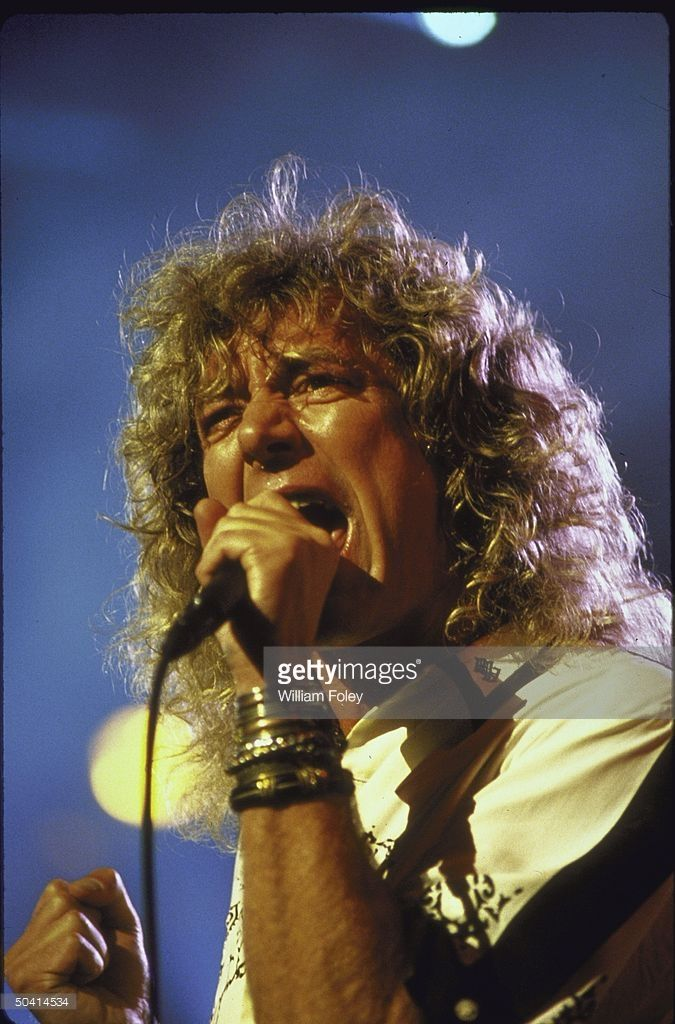 Rock singer Robert Plant singing at Atlantic Records 40th Anniversary Concert at Madison Square Garden.