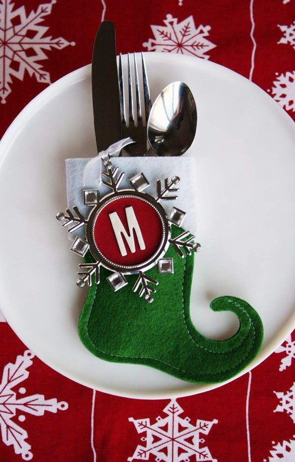 such a cute utensil holder - using a mini stocking and a photo ornament: